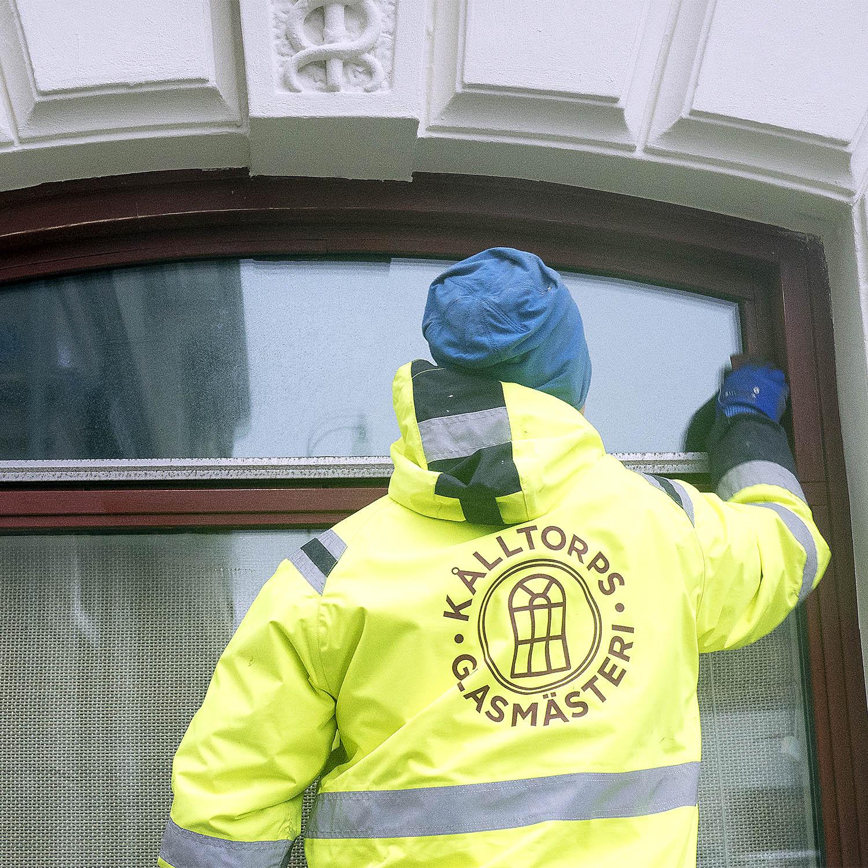 Kålltorps Glasmästeri, logotyp på varseljacka